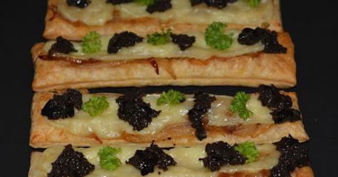 Tarta de hojaldre con cebolletas y brie