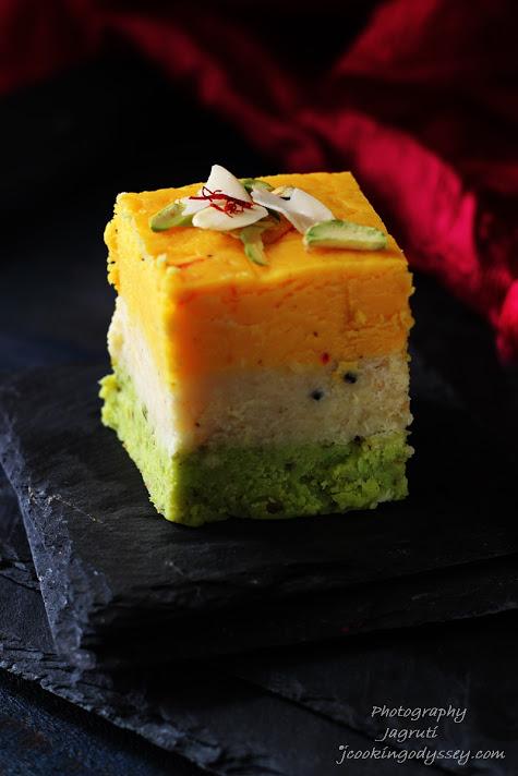 Kesar, Badam, Pista Barfi / Barfee - Saffron, Almond and Pistachio nuts creamy fudge squares #fastingfood #indianmithai #Gokulasthmi #Janmasthmi #indianfestival
